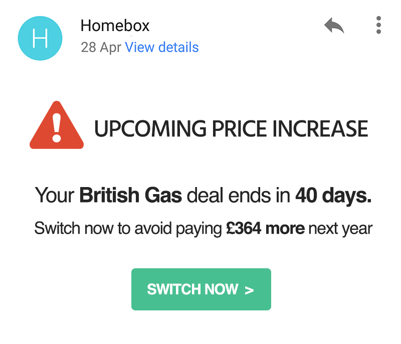 Homebox switched to cheap energy deal